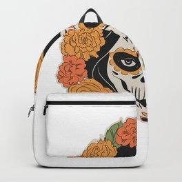 Floral Skull and Roses Undead Girl Sugar Skull Design - Skull Tattoo Design - Grim Reaper Backpack