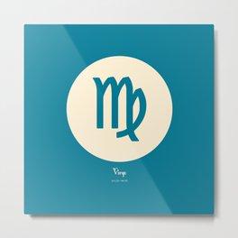 Virgo Symbol Blue Metal Print
