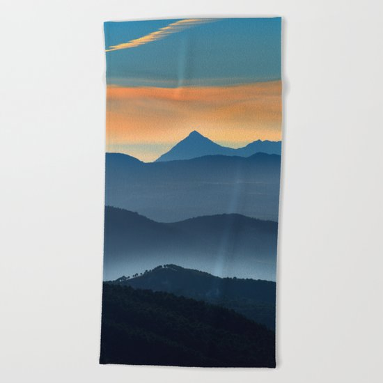 """""""Misty mountains"""". Sunset at the mountains Beach Towel"""