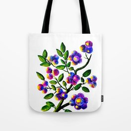 Blue Pink Yelow Flower Branch Clip Art Tote Bag