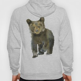 Black Bear Cub Watercolor Hoody