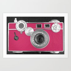 Pink Fashion Camera Art Print