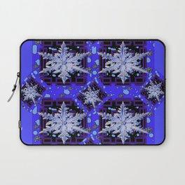 BLUE WINTER HOLIDAY SNOWFLAKES PATTERN ART Laptop Sleeve