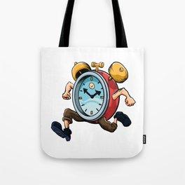 Clock Man Running Tote Bag