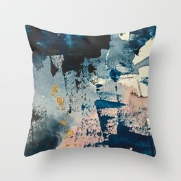 Pleiades: a minimal, abstract mixed media piece by Alyssa Hamilton Art in Pink, Gold, and Blue Throw Pillow