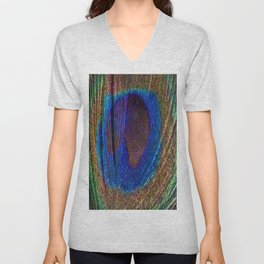 Peacock feather close up Unisex V-Neck