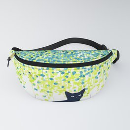 Cat in the garden under willow tree Fanny Pack