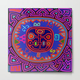Kuna Indian Mola Compass Metal Print
