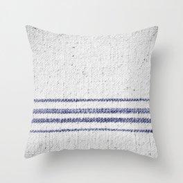 Vintage Farmhouse Grain Sack Indigo Blue Throw Pillow