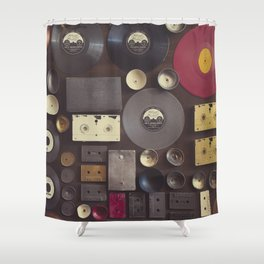 Music. Vintage wall with vinyl records and audio cassettes hung. Shower Curtain