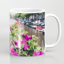 Pink Amsterdam Flowers above Canal | Europe Travel City Urban Landscape Photography Coffee Mug