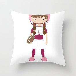 Sporty Girls Football Girl Throw Pillow