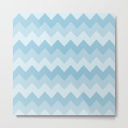 Blue Chevron Stripe Pattern Metal Print
