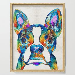 Colorful Boston Terrier Dog Pop Art - Sharon Cummings Serving Tray