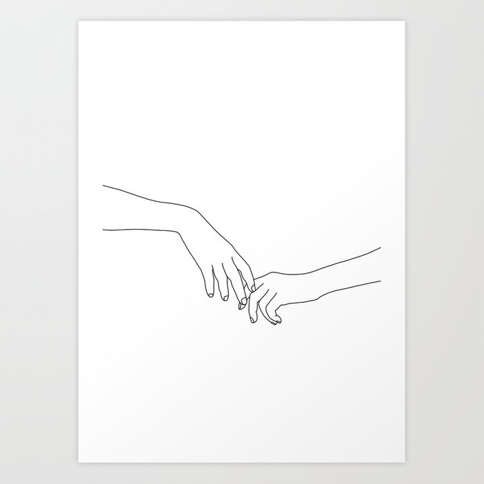 hands line drawing illustration daily art print by thecolourstudy