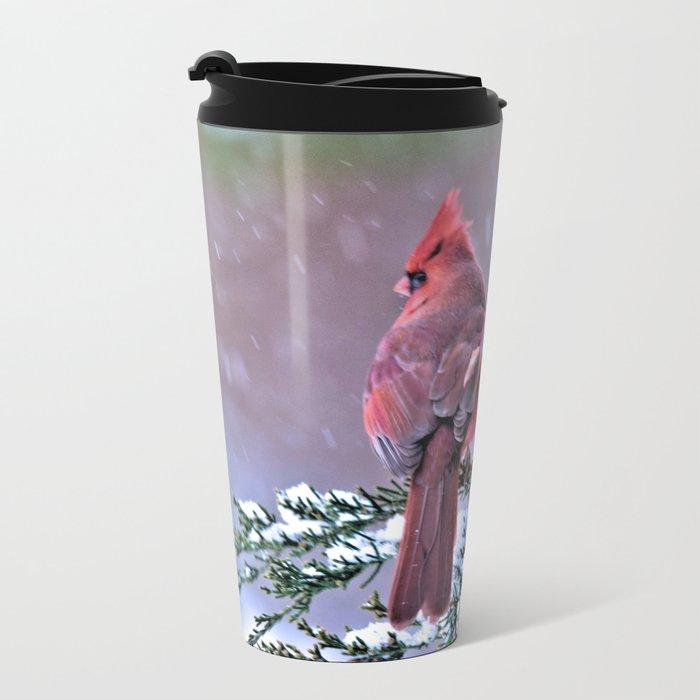 Winter Returns for the Cardinal Metal Travel Mug