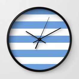 Little boy blue - solid color - white stripes pattern Wall Clock