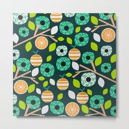 Oranges and flowers Metal Print