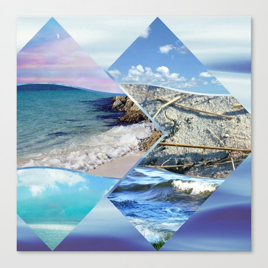 Sea, Sand and Sky Collage Canvas Print