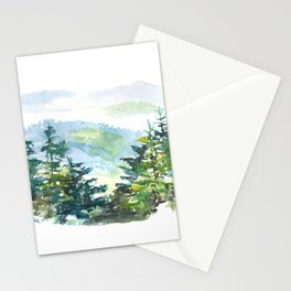 natural landscape watercolor painting Stationery Cards