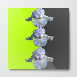 MODERN WHITE IRIS DIVIDED CHARTREUSE & GREY ART Metal Print