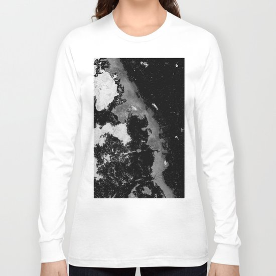 Lost In The Mystery - Abstract, black and white painting Long Sleeve T-shirt