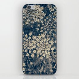 Dreamy Old Lace Flower and Navy Blue Denim Floral iPhone Skin