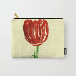 Single Rose on Soft Yellow Carry-All Pouch