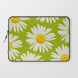 Daisies on a vivid green background - #Society6 #buyart Laptop Sleeve