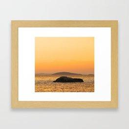 Beautiful Lakescape Yellow Orange Sunset Sky Framed Art Print