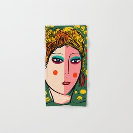 Green Portrait French Girl Art Hand & Bath Towel