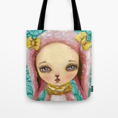 Portrait of a pink bunny Tote Bag
