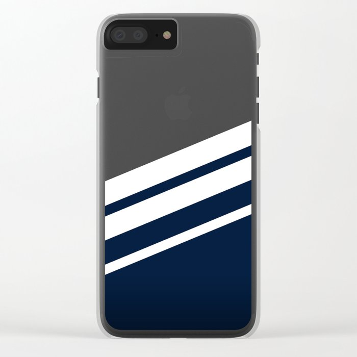 Wooden Navy Clear iPhone Case