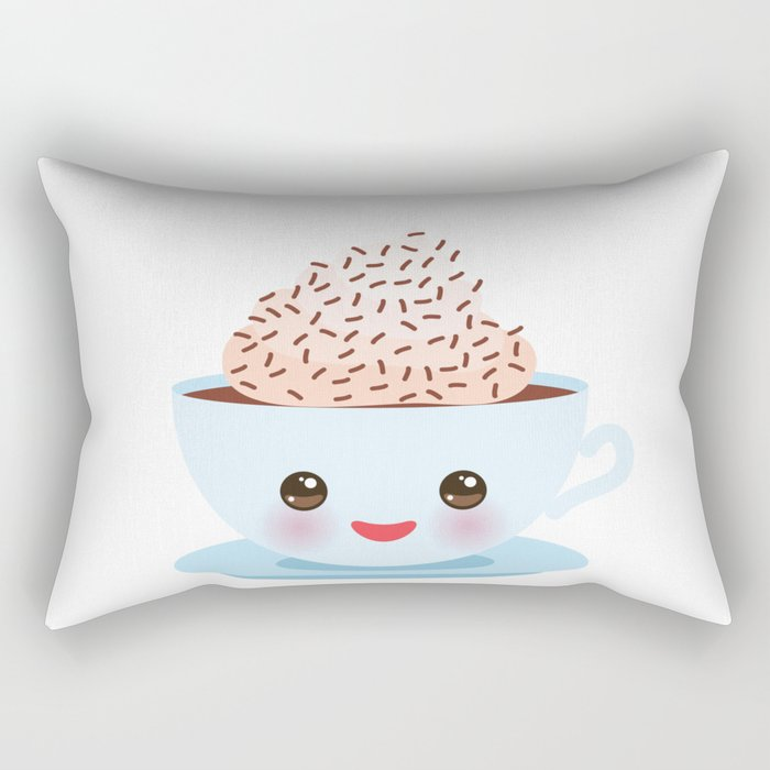 Cute blue Kawai cup, coffee with pink cheeks and winking eyes Rectangular Pillow