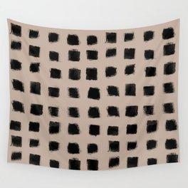 Polka Strokes - Black on Nude Wall Tapestry