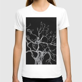 Graphic art, tree leaves, white ink T-shirt