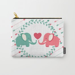 Elephant Love with Arrows Carry-All Pouch