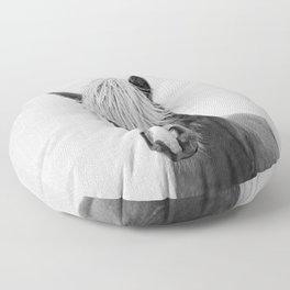 Horse - Black & White Floor Pillow