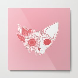 Millennial Pink and Coral Sunflower Sphynx Cat Skull - Hairless Kitty Floral Art Metal Print
