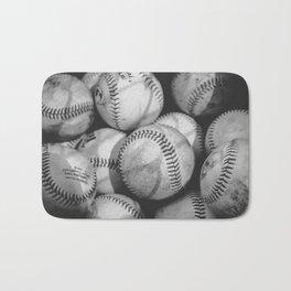 Baseballs in Black and White Bath Mat