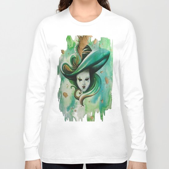 venetian mask green Long Sleeve T-shirt