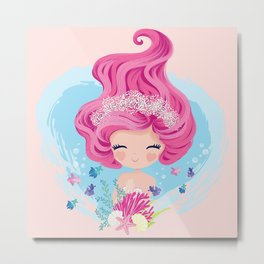 Little cute mermaid with fishes and seashells Metal Print