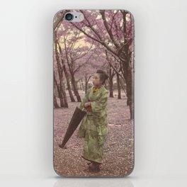 Geisha among Cherry Blossom trees iPhone Skin