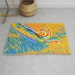 Hand Of Woman In Water Blue And Yellow Colourful Modern Style Rug