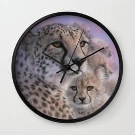 Cheetah Mother and Cubs - Mothers Love Wall Clock