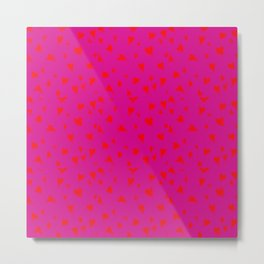 Scattered Hand-Drawn Bright Red Painted Hearts Pattern on Hot Pink Metal Print