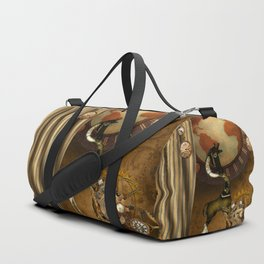Cute steampunk giraffe with clocks and gears Duffle Bag