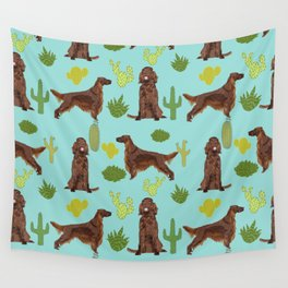 Irish Setter cactus southwest desert dog breed cute gift for dog lover pupper portrait pattern gifts Wall Tapestry