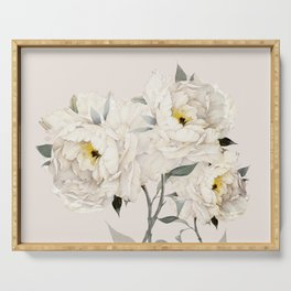 White Peonies Serving Tray