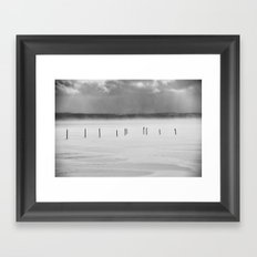 Lake Posts in February Canandaigua Lake Framed Art Print